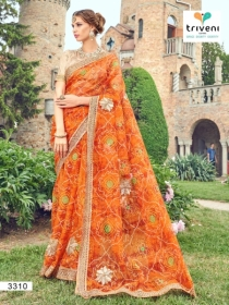 TRIVENI RANG VARSA FANCY SUPER NET PRINTED WITH LACE PARTY WEAR SAREES- 3301 SERIES (10)