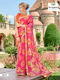 TRIVENI RANG VARSA FANCY SUPER NET PRINTED WITH LACE PARTY WEAR SAREES- 3301 SERIES (11)