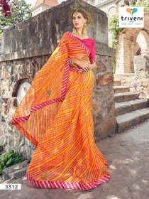 TRIVENI RANG VARSA FANCY SUPER NET PRINTED WITH LACE PARTY WEAR SAREES- 3301 SERIES (12)