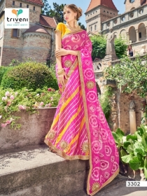 TRIVENI RANG VARSA FANCY SUPER NET PRINTED WITH LACE PARTY WEAR SAREES- 3301 SERIES (2)