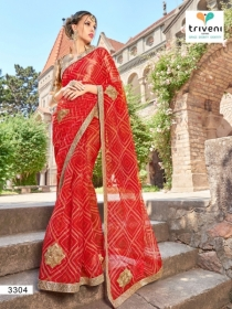 TRIVENI RANG VARSA FANCY SUPER NET PRINTED WITH LACE PARTY WEAR SAREES- 3301 SERIES (4)