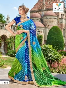 TRIVENI RANG VARSA FANCY SUPER NET PRINTED WITH LACE PARTY WEAR SAREES- 3301 SERIES (5)