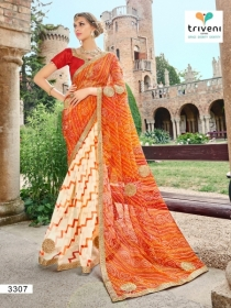 TRIVENI RANG VARSA FANCY SUPER NET PRINTED WITH LACE PARTY WEAR SAREES- 3301 SERIES (7)