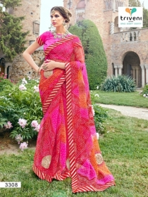 TRIVENI RANG VARSA FANCY SUPER NET PRINTED WITH LACE PARTY WEAR SAREES- 3301 SERIES (8)