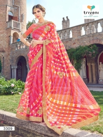 TRIVENI RANG VARSA FANCY SUPER NET PRINTED WITH LACE PARTY WEAR SAREES- 3301 SERIES (9)