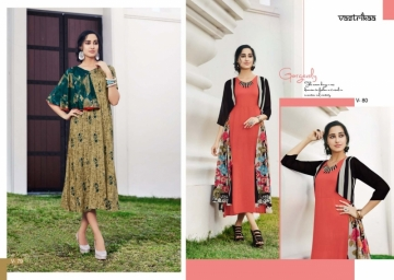 VASTRIKAA SENSATION VOL 4  RAYON FANCY DESIGNER KURTIS WHOLESALE SUPPLIER SURAT (2) JPG