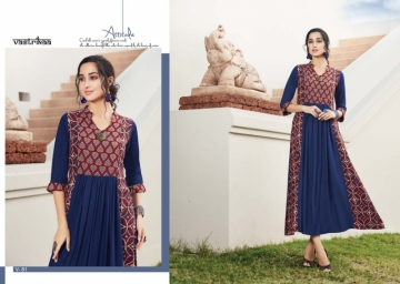 VASTRIKAA SENSATION VOL 4  RAYON FANCY DESIGNER KURTIS WHOLESALE SUPPLIER SURAT (3) JPG