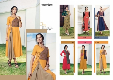 VASTRIKAA SENSATION VOL 4  RAYON FANCY DESIGNER KURTIS WHOLESALE SUPPLIER SURAT (4) JPG