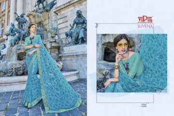 VIPUL FASHION SUVENA TRENDY GEORGETTE PARTY WEAR SAREES WHOLESALE SUPPLIER PRICE(3)JPG