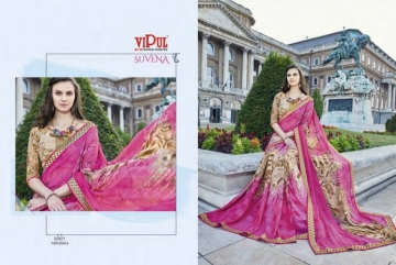 VIPUL FASHION SUVENA TRENDY GEORGETTE PARTY WEAR SAREES WHOLESALE SUPPLIER PRICE(9)JPG