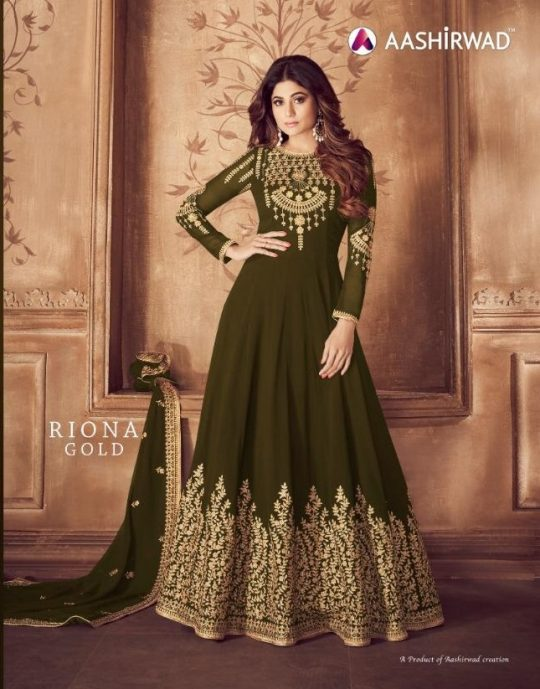 4618caaa90 AASHIRWAD RIONA GOLD PARTY WEAR GEORGETTE EMBROIDERED ANARKALI SUITS  WHOLESALE SUPPLIER